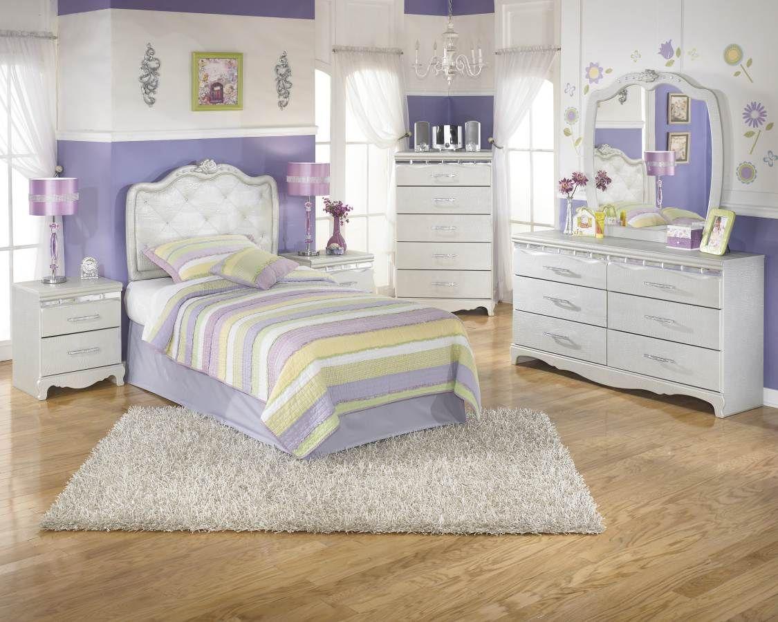 Best Zarollina Silver Wood Glass Kids Bedroom Set Kids 400 x 300