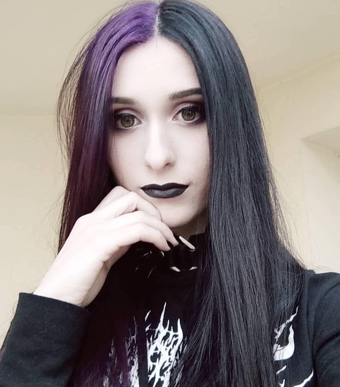 Half Purple And Half Black Long Straight Human Hair Split Dyed Hair Hair Color For Black Hair Dyed Hair Purple