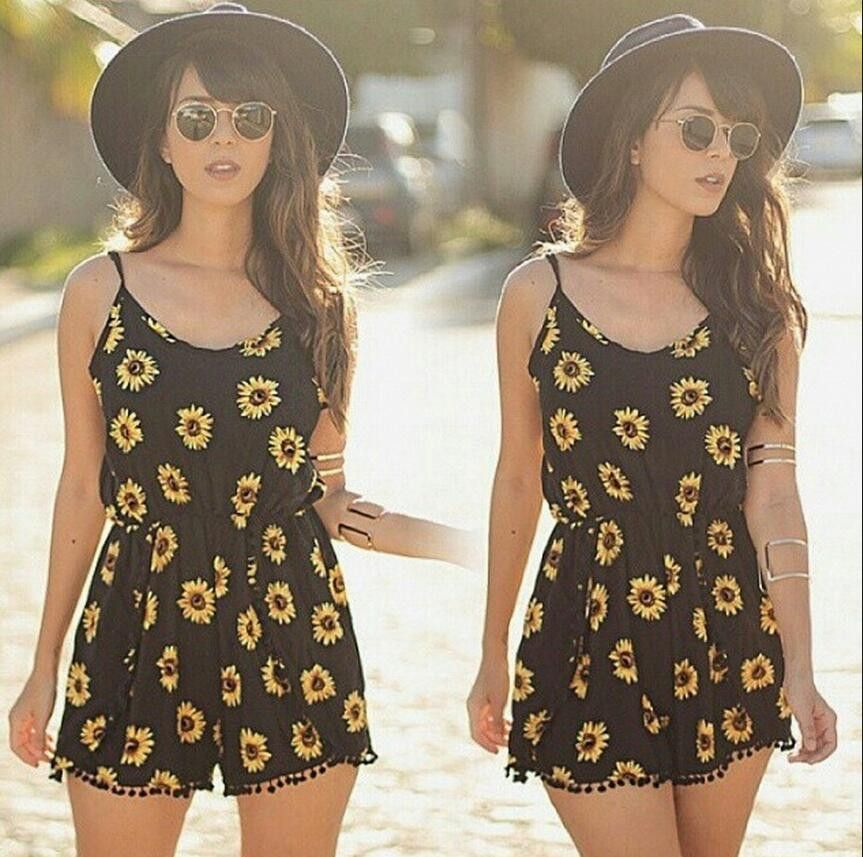 ce85d9a099a2 Omei Sunflower Flowers Beach Romper -  19