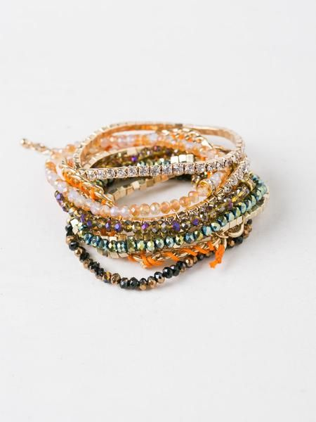"""Stackable beaded bracelet set. Two chained bracelet and eight stretch pull on beaded bracelet.3 1/2"""" DiameterManmade Materials"""