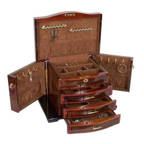 Stunning Fully Locking Wooden Jewelry Box Chest With Burled Inlay Jere Wright Global Jbc593
