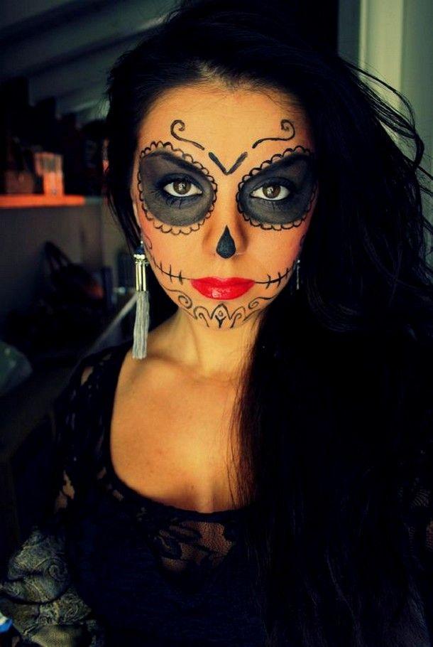 Mexican Sugar Skull Makeup For Girls On Halloween Halloween Makeup Sugar Skull Sugar Skull Makeup Skull Makeup