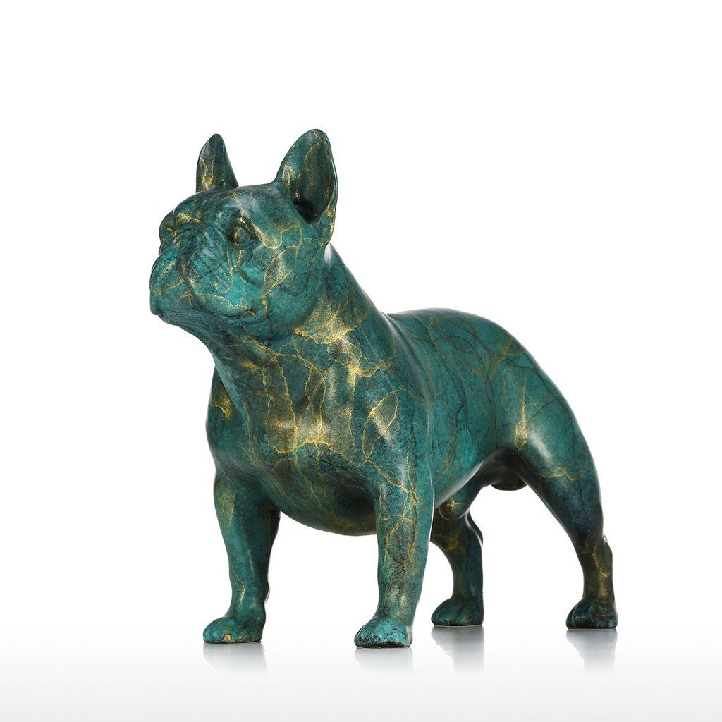 English Bulldog Bronze Sculpture Marble Base Handcrafted Dog Statue Decor Art T