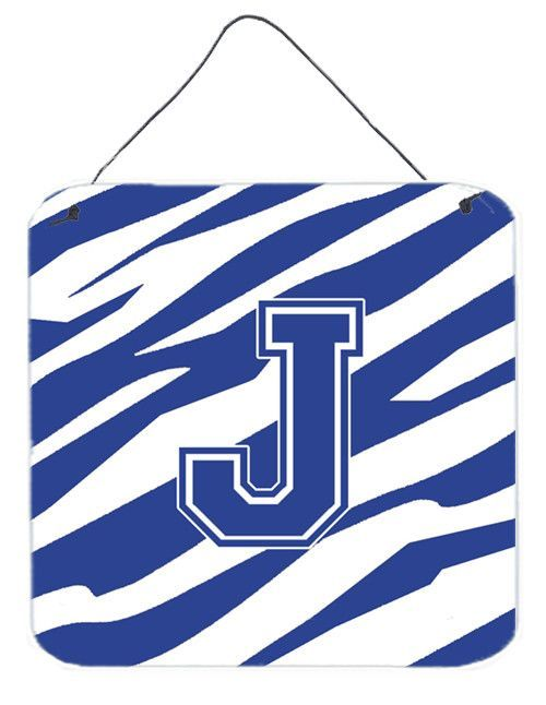 Letter J Initial Tiger Stripe Blue and White Wall or Door Hanging Prints