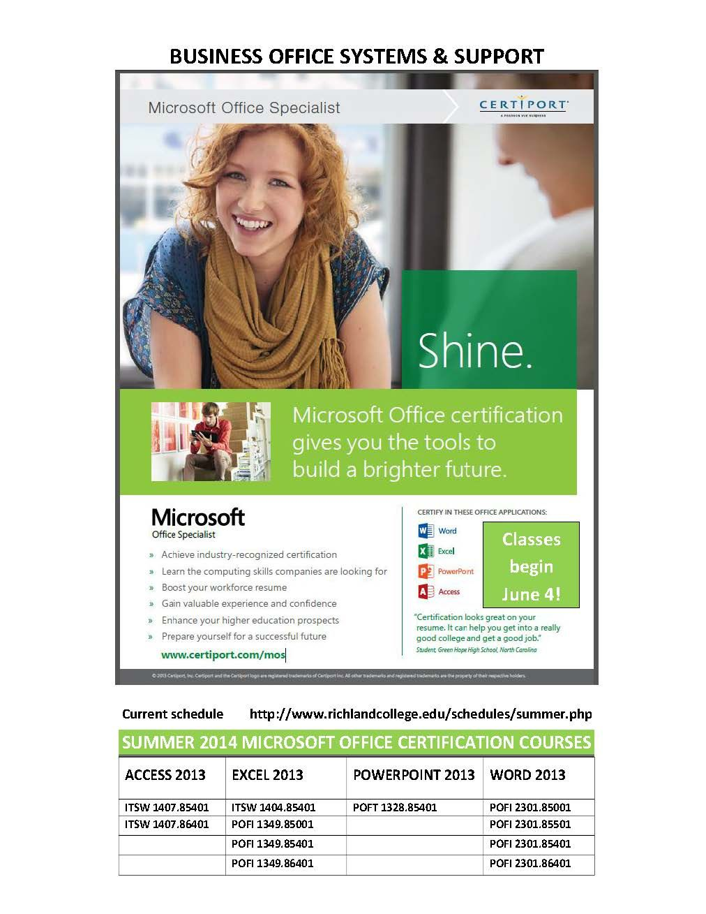 Richland Colleges Boss Program Is Offering Microsoft Office