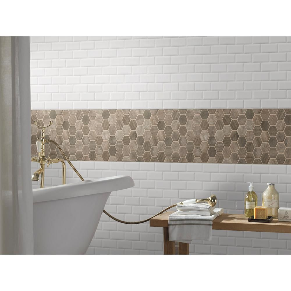 home depot hexagon tile with gold trim