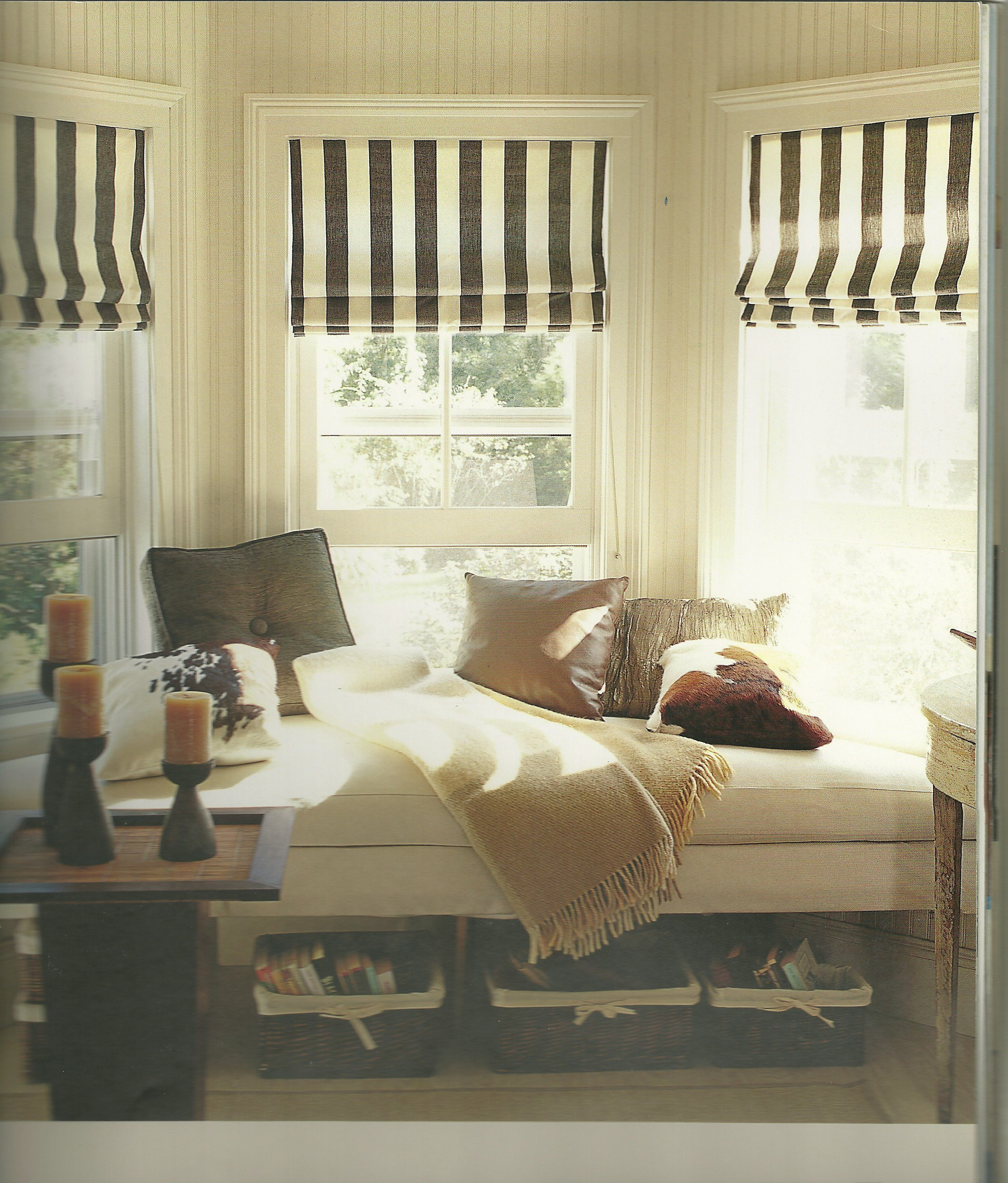 50 Cool Bay Window Decorating Ideas: More Stripes. They Look The Best In An Inside Mount. Need