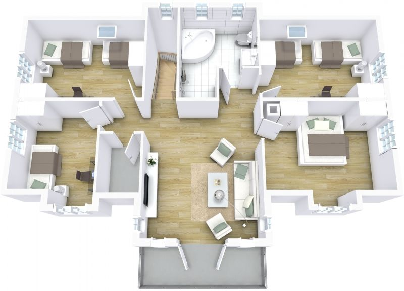 3D floor plan featuring stairs and jacuzzi tub designed