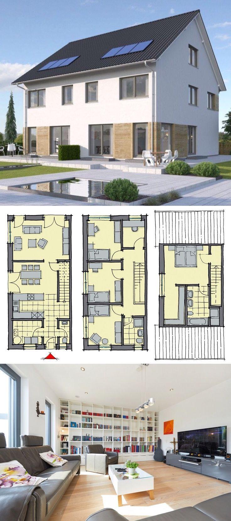 Modernes Doppelhaus als Fertighaus schlüsselfertig mit