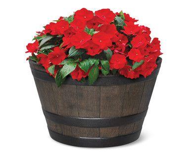ALDI US Gardenline Whiskey Barrel Planter Whiskey