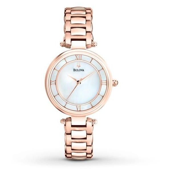 Bulova Bulova Women's Mother of Pearl Gold Tone Stainless Steel Watch ($260) ❤ liked on Polyvore featuring jewelry, watches, dress watch, bulova watches, roman numeral watches, roman numeral bracelet and rose gold tone watches