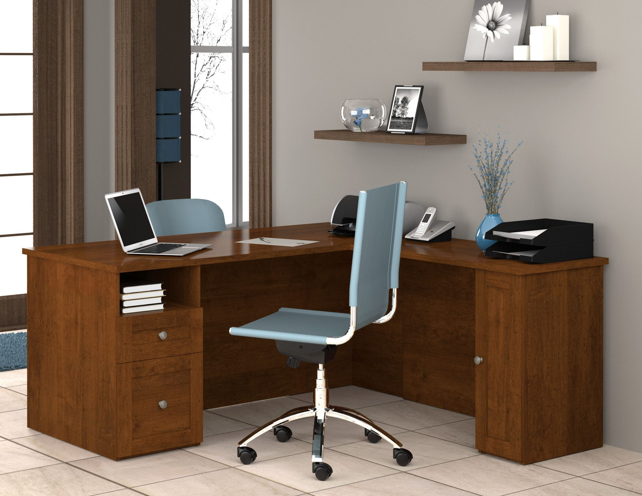 Mason lshaped desk in tuscany brown with optional storage cabinet