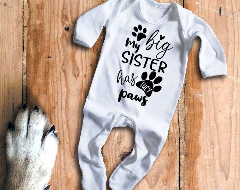 My big sister has Paws white baby grow bodysuit rompersuit sleepsuit