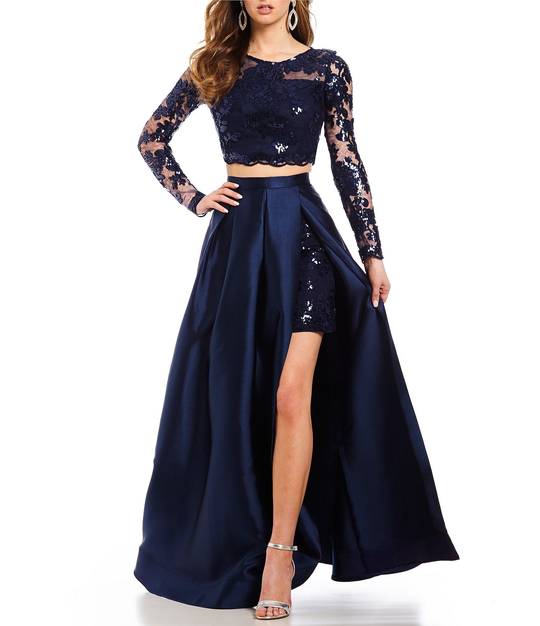 13d4164cc2ed Dear Moon Long Sleeve Sequin Lace Top TwoPiece Dress #Dillards Prom Two  Piece, Prom