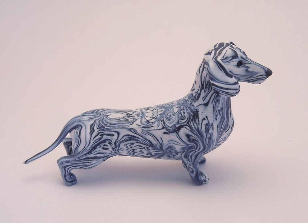 Ultramarine Blue Striped Dachshund Figurine Handmade O O A K