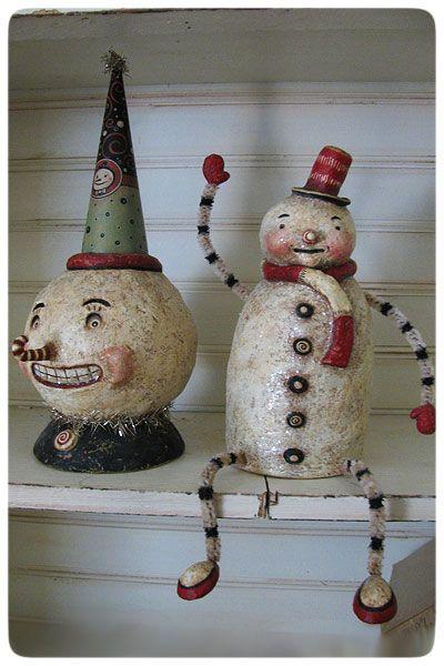 Paper mache snowman for sale google search christmas for Paper mache christmas