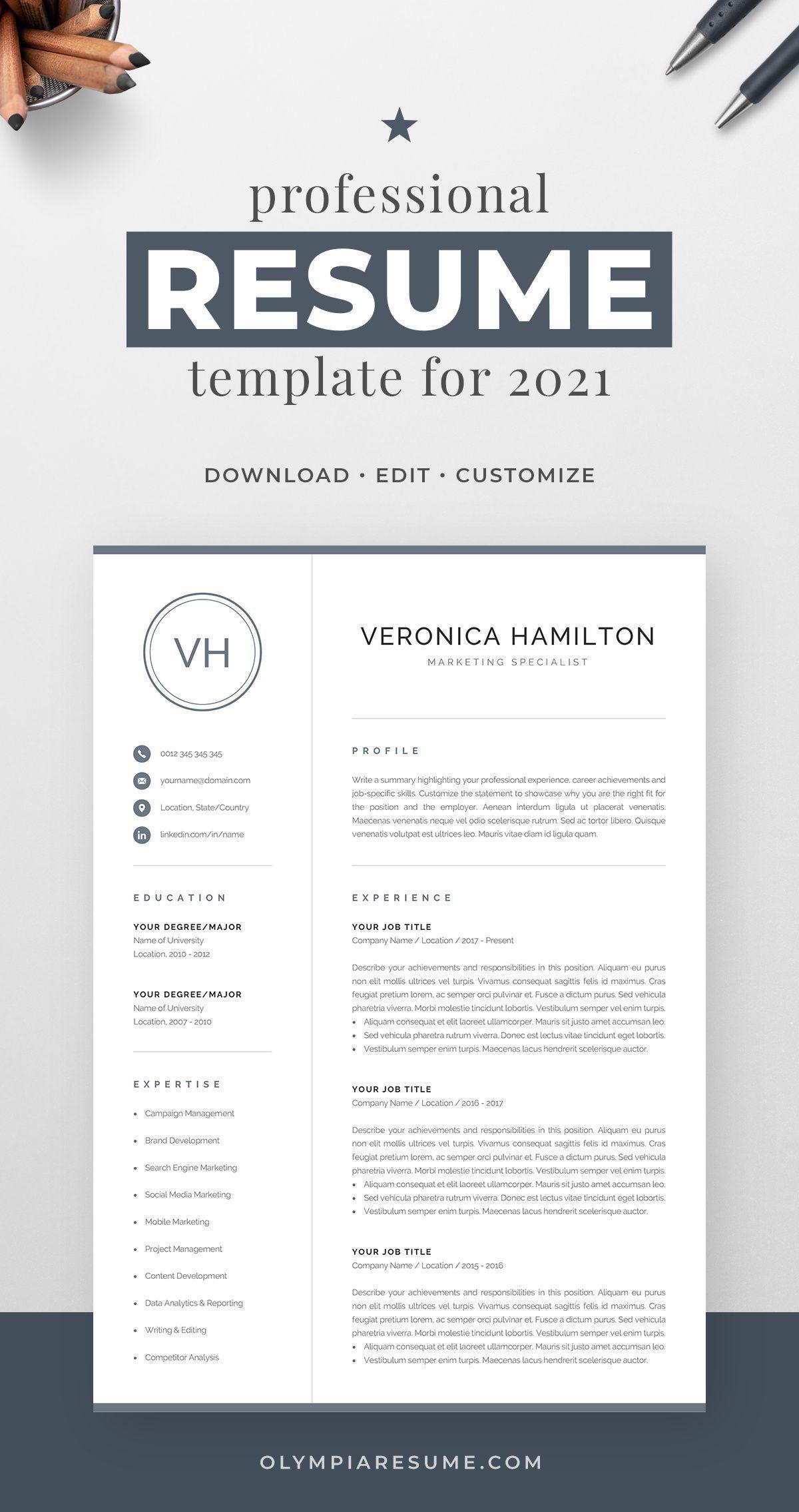 Resume Template With Monogram 1 2 Page Resume Modern Etsy In 2021 Resume Template Professional Resume Template One Page Resume Template
