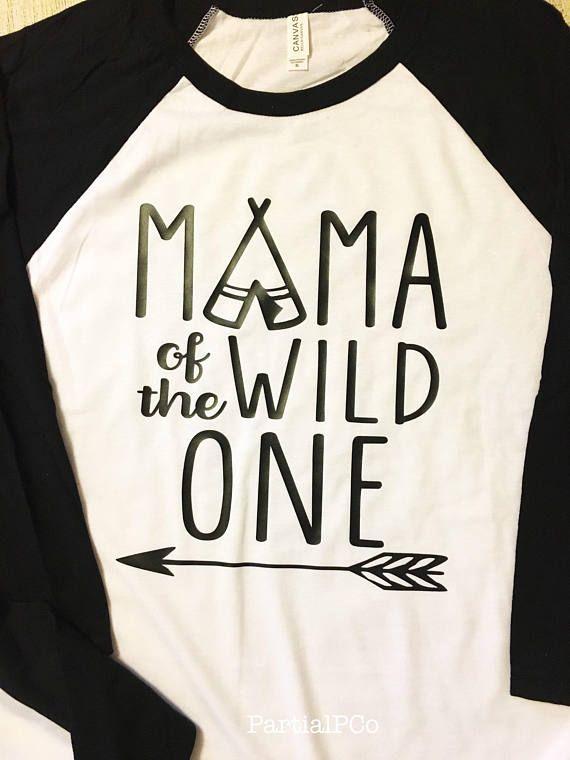 29ffe9d4 MOM or DAD of the Wild One Baseball Tee | Mama | Dada | adult raglan tee |  momma | First Birthday