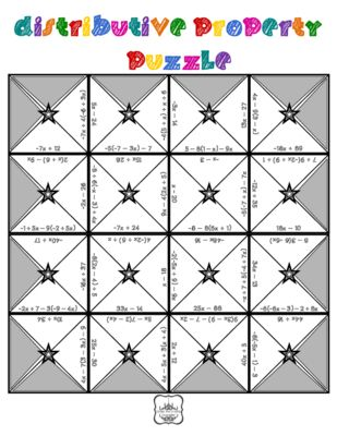 Distributive Property and Combining Like Terms Puzzle from Under ...
