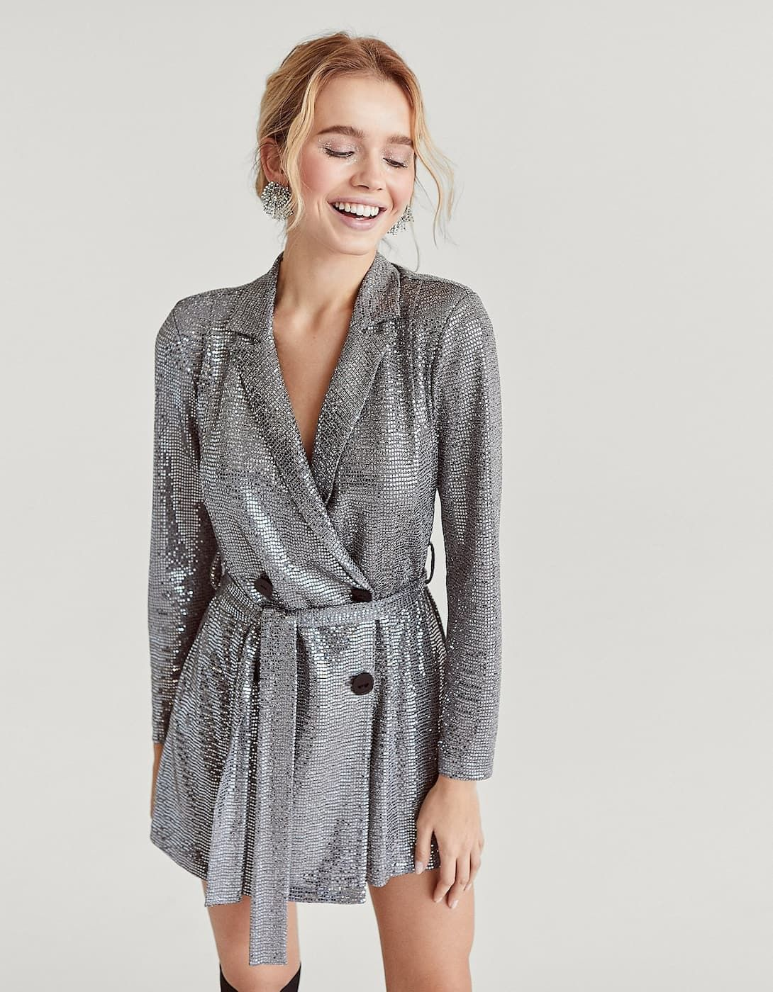 37049f302961 Silver sequinned blazer dress - Dresses | Stradivarius Spain - Islas  Canarias