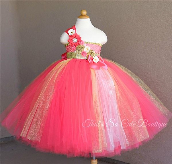 Coral Tulle Flower Girl