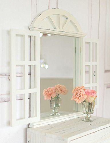 Landhaus Wandspiegel Spiegel mit Fensterläden in Shabby Chic weiss - wohnzimmer design landhaus