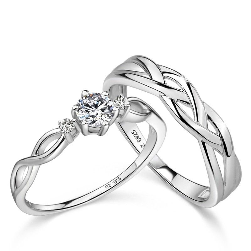 Latest 925 Sterling Silver Open Heartbeat Rings Matching Couple Rings Matching Promise Rings Promise Rings For Couples