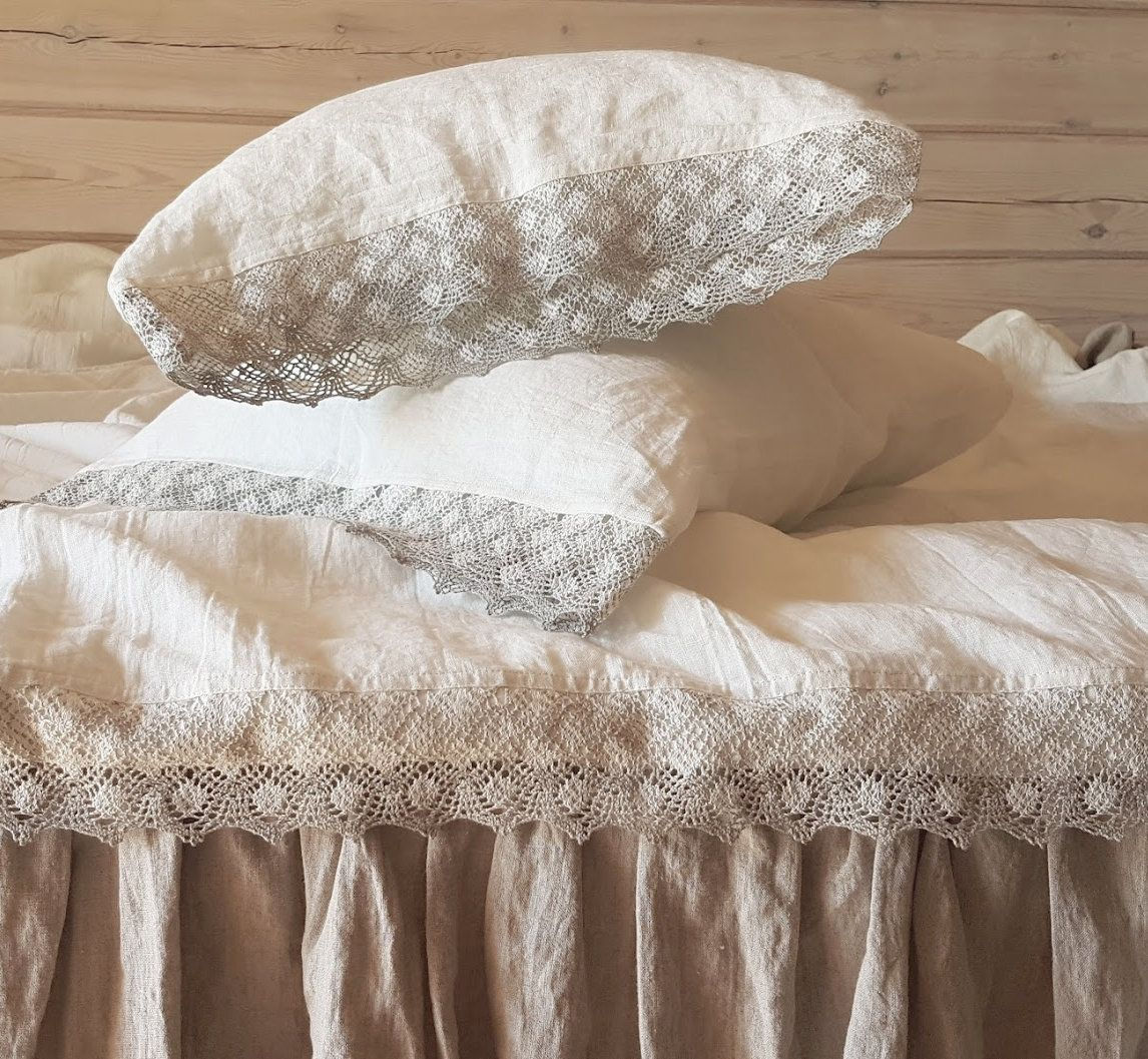 Lace trimmed SHEET SET from soft off-white linen - linen ...