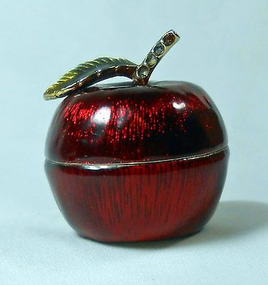 Vintage Monet Retired Candy Apple Enamel on Metal Very Rare Trinket Box.