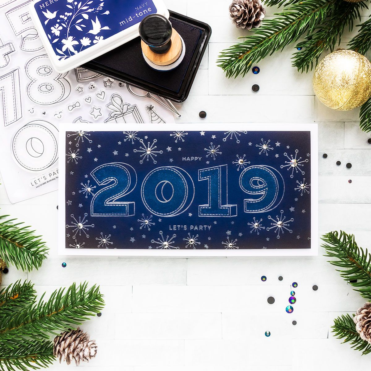 Simon Says Stamp Happy New Year 2019 Card. Video Happy