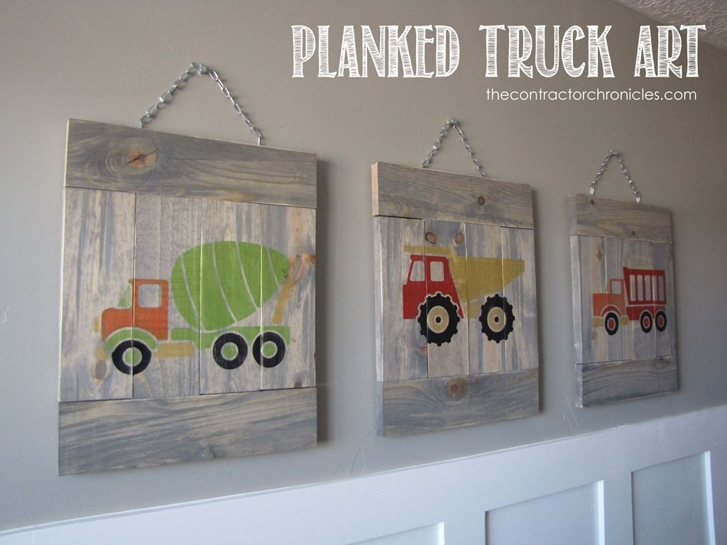 Planked Truck Art Toddler Boys Room Truck Room Boys Truck Bedroom