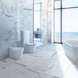 "marble attache in calacatta 24"" x 48"" matte field tile on"