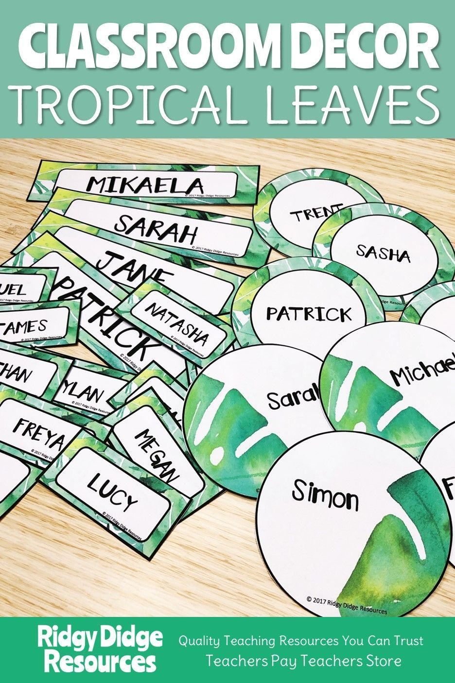 Photo of Tropical Leaves Themed editable classroom labels