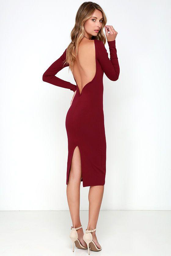 bd801eff890 Va Va Voom Wine Red Backless Midi Dress at Lulus.com! Long Sleeve Backless