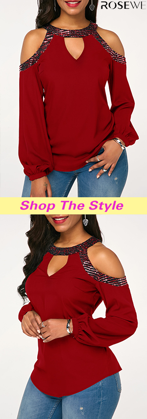4fcd43ab240 Embellished Neck Cold Shoulder Cutout Front Wine Red Blouse. New sign-ups  get 5% off for all first orders