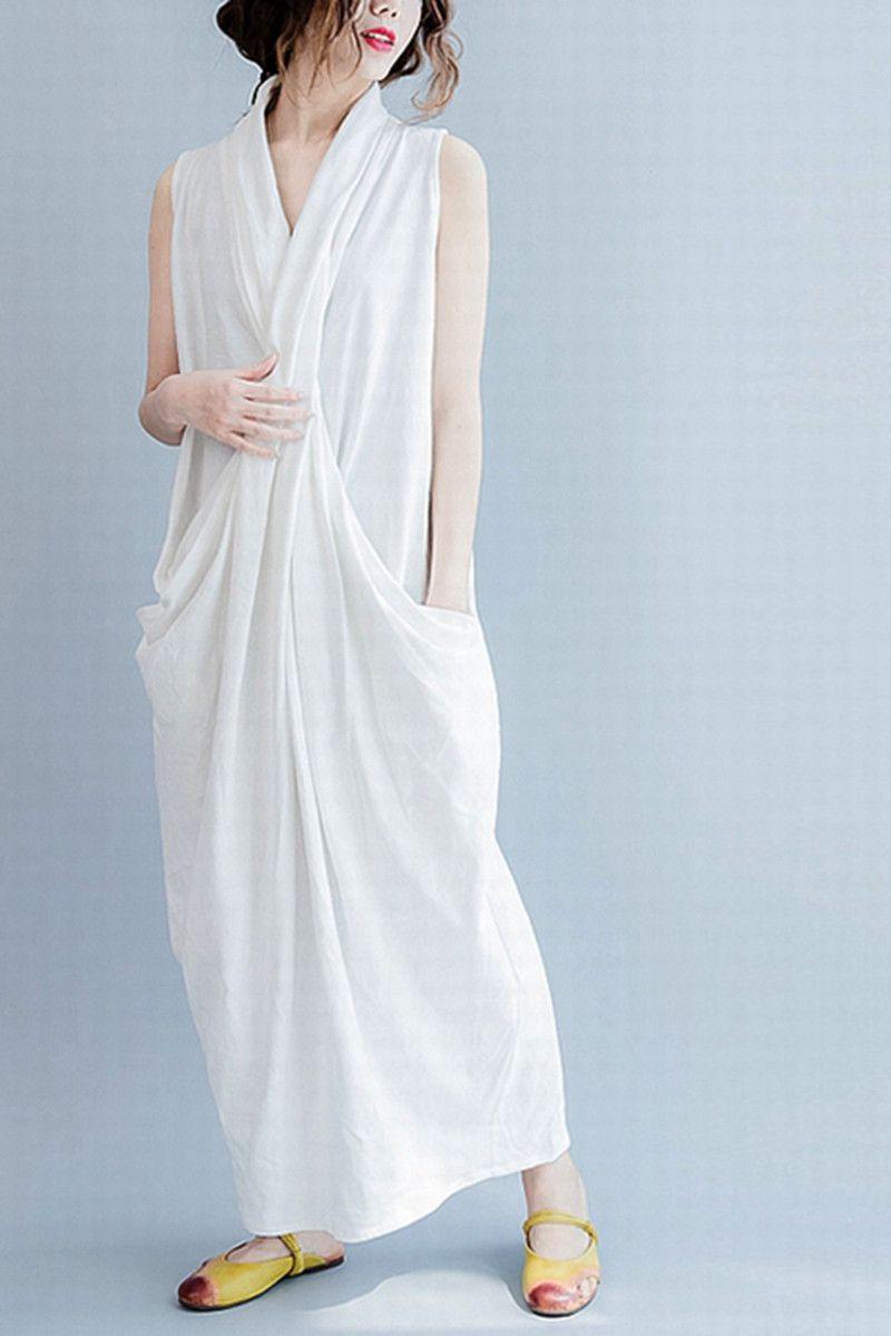 White Sleeveless Cross Plus Size Oversize long Dresses Q6369