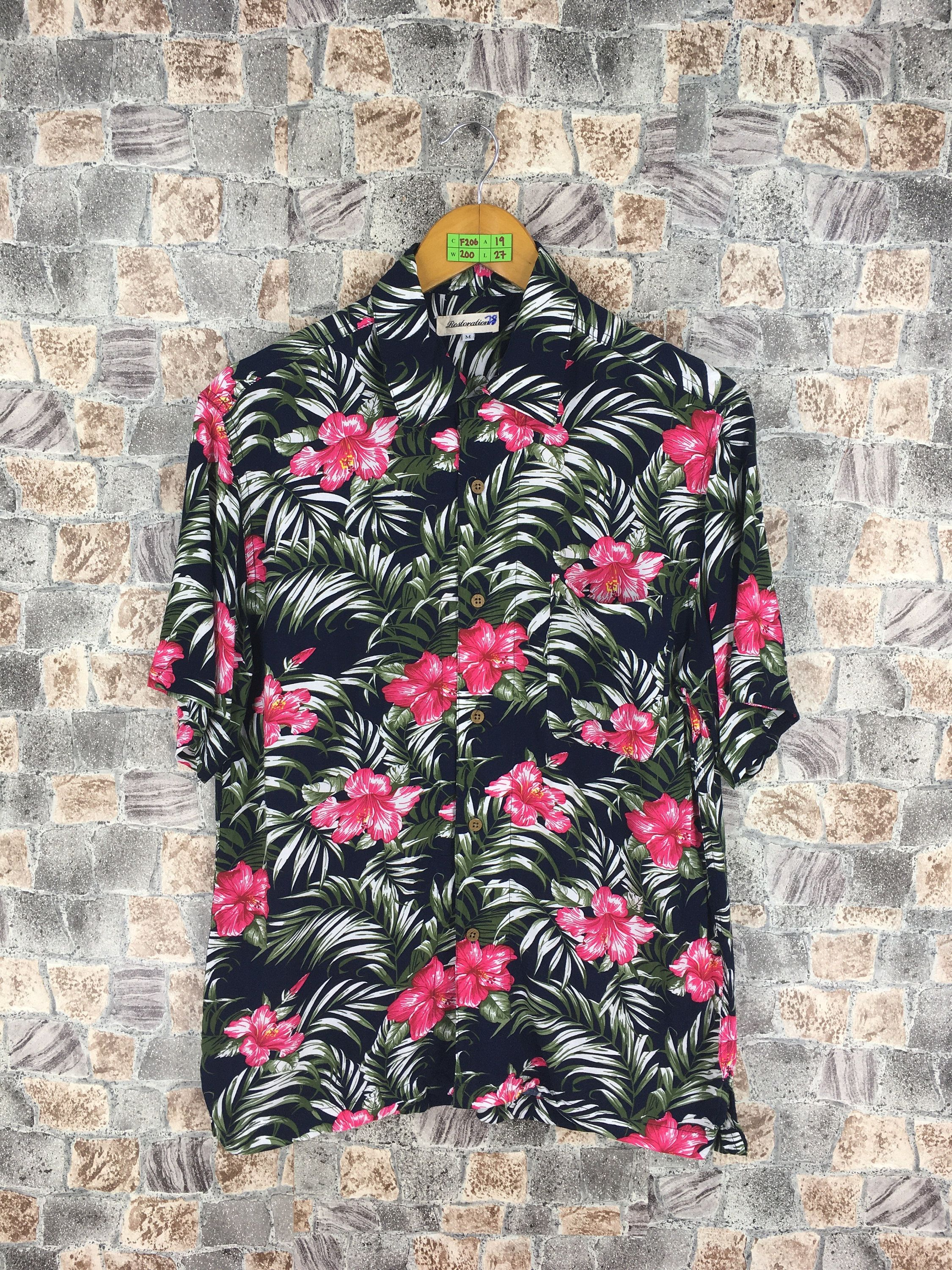8202280fa Vintage Sunwear Floral Button Up Medium Hawaiian Hibiscus Multicolour Hawaii  Aloha Rockabilly Beach Surf Party Rock N Roll Shirt Size M by ...