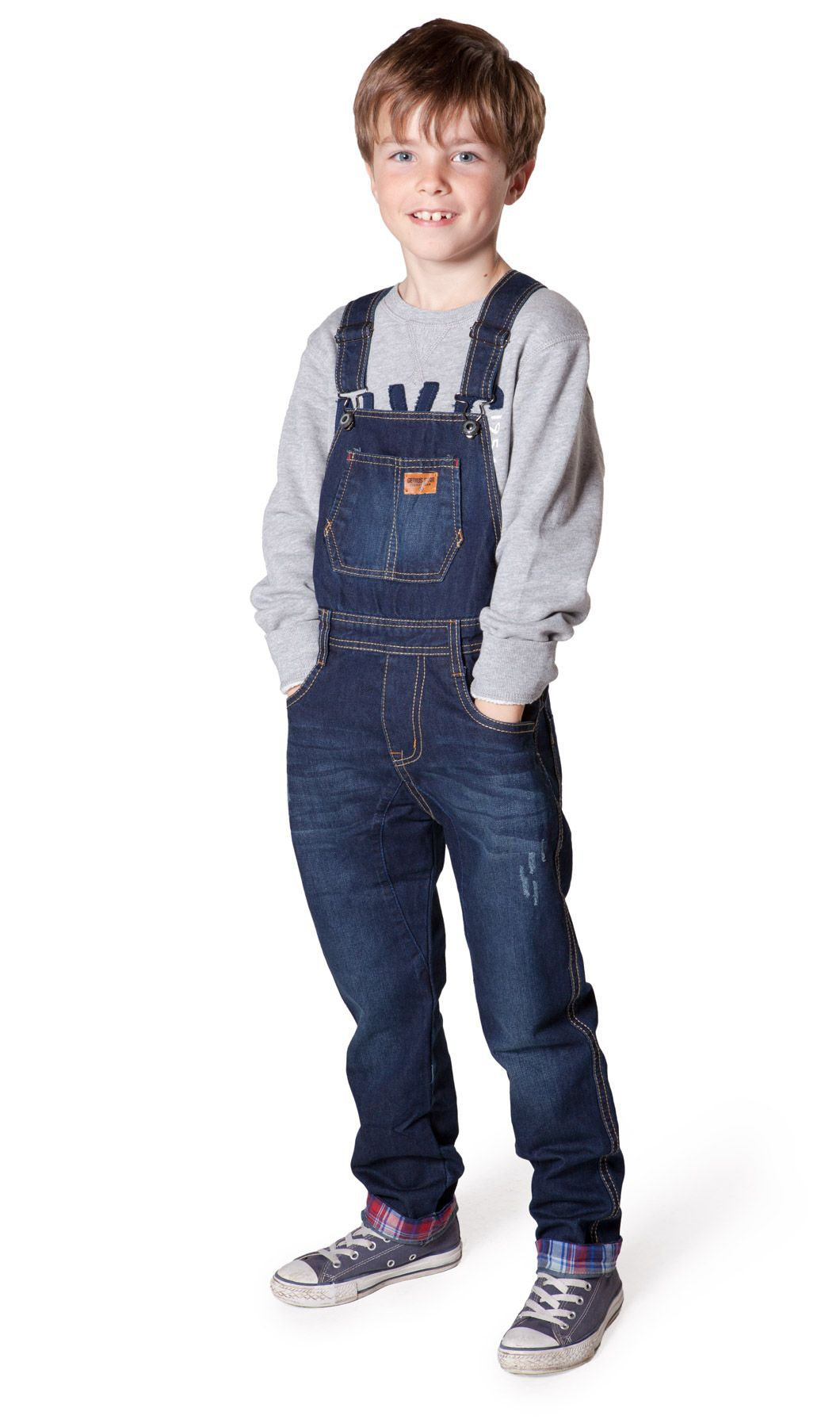 79059fe459f7d5 Majorly cute kids denim dungarees (overalls) with red & blue check turn ups  from Dungarees Online. #kidsdungarees #overalls.