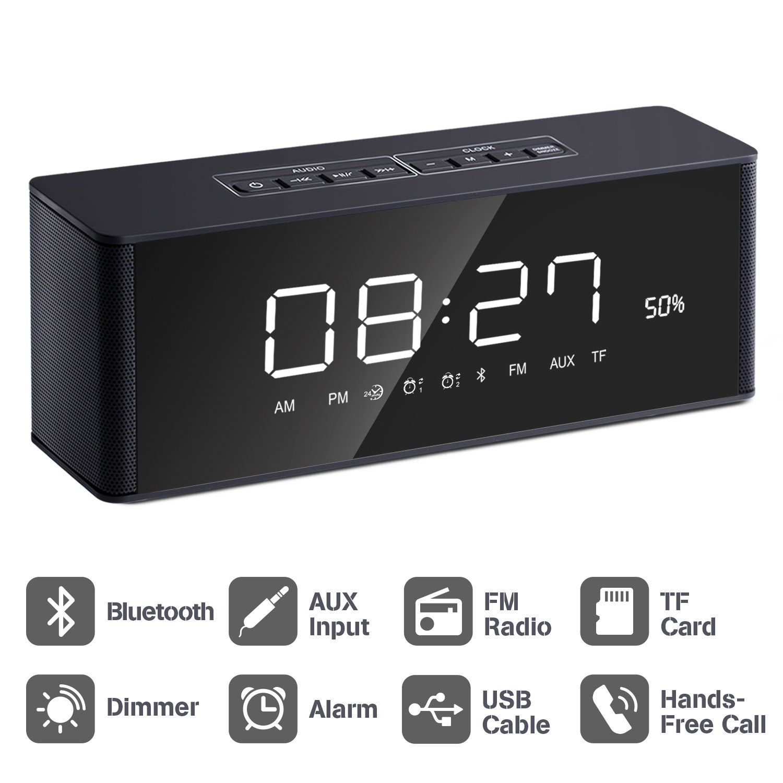 fc1242500dc Alarm Clock Radio Bluetooth Speaker  2018 Upgraded  with Digital FM Stereo