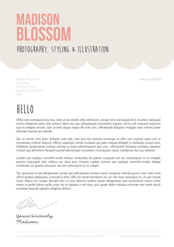 Resume CV Design Template Cover Letter for by OddBitsStudio - example of a cover letter for a resume
