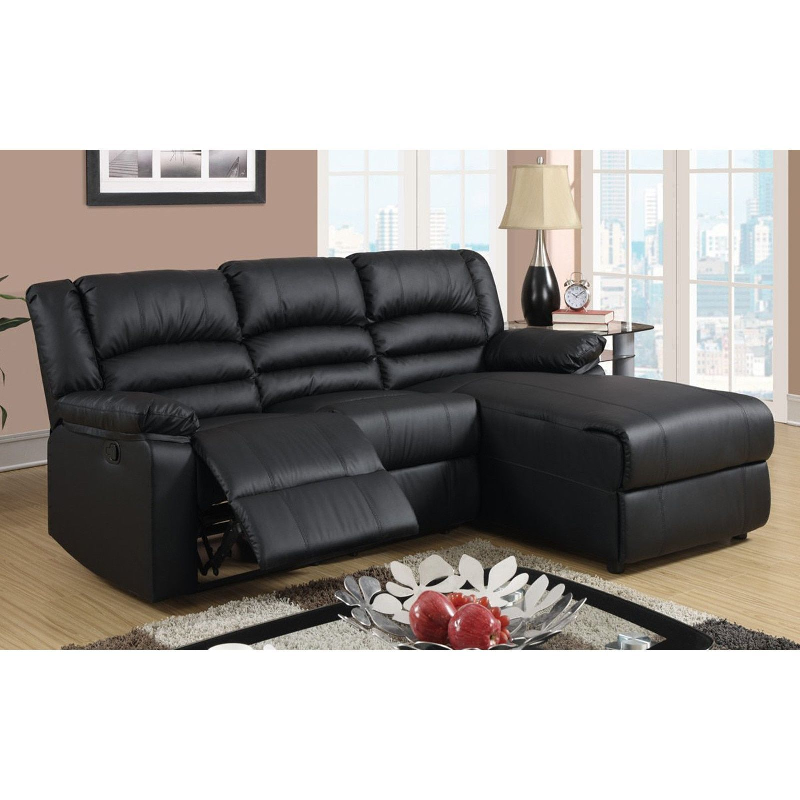 Madison Modern Bonded Leather Small E Sectional Reclining Sofa With Chaise Black