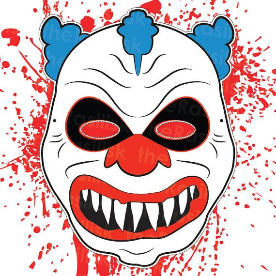 Scary clown mask halloween mask clown mask printable for Joker mask template