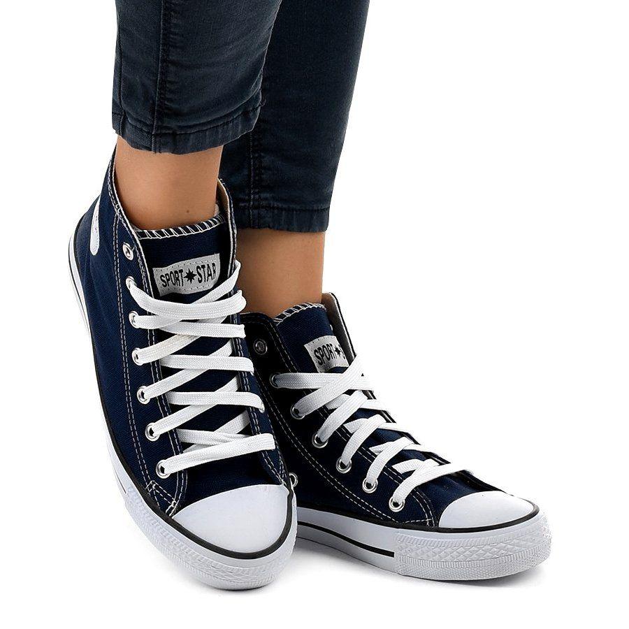 Granatowe Klasyczne Wysokie Trampki Dts8224 4 Casual Sneakers Women High Sneakers Sneakers