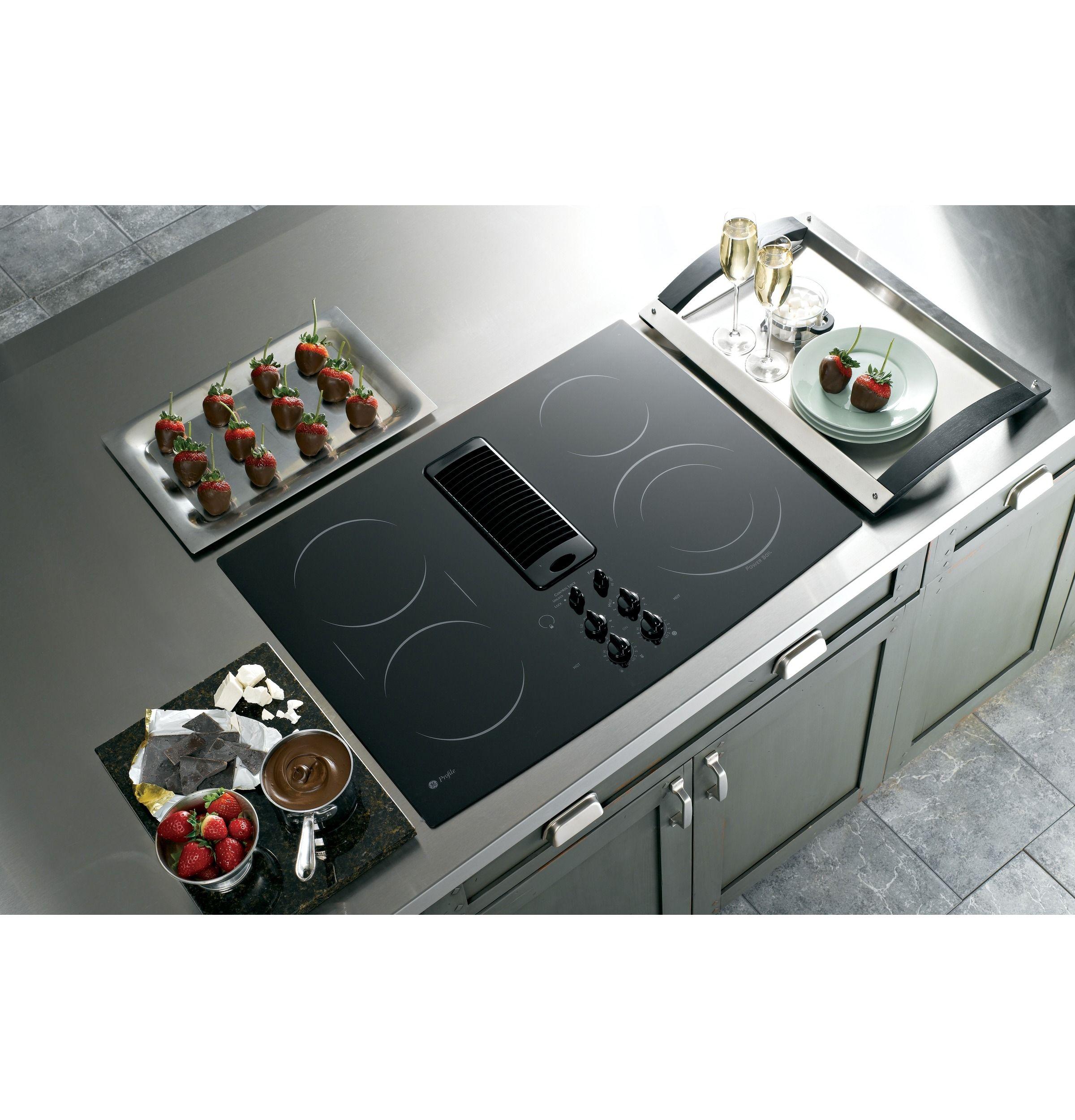 Pp989dnbb Ge Profile Series 30 Downdraft Electric Cooktop Ge Appliances Electric Cooktop Downdraft Cooktop Cooktop