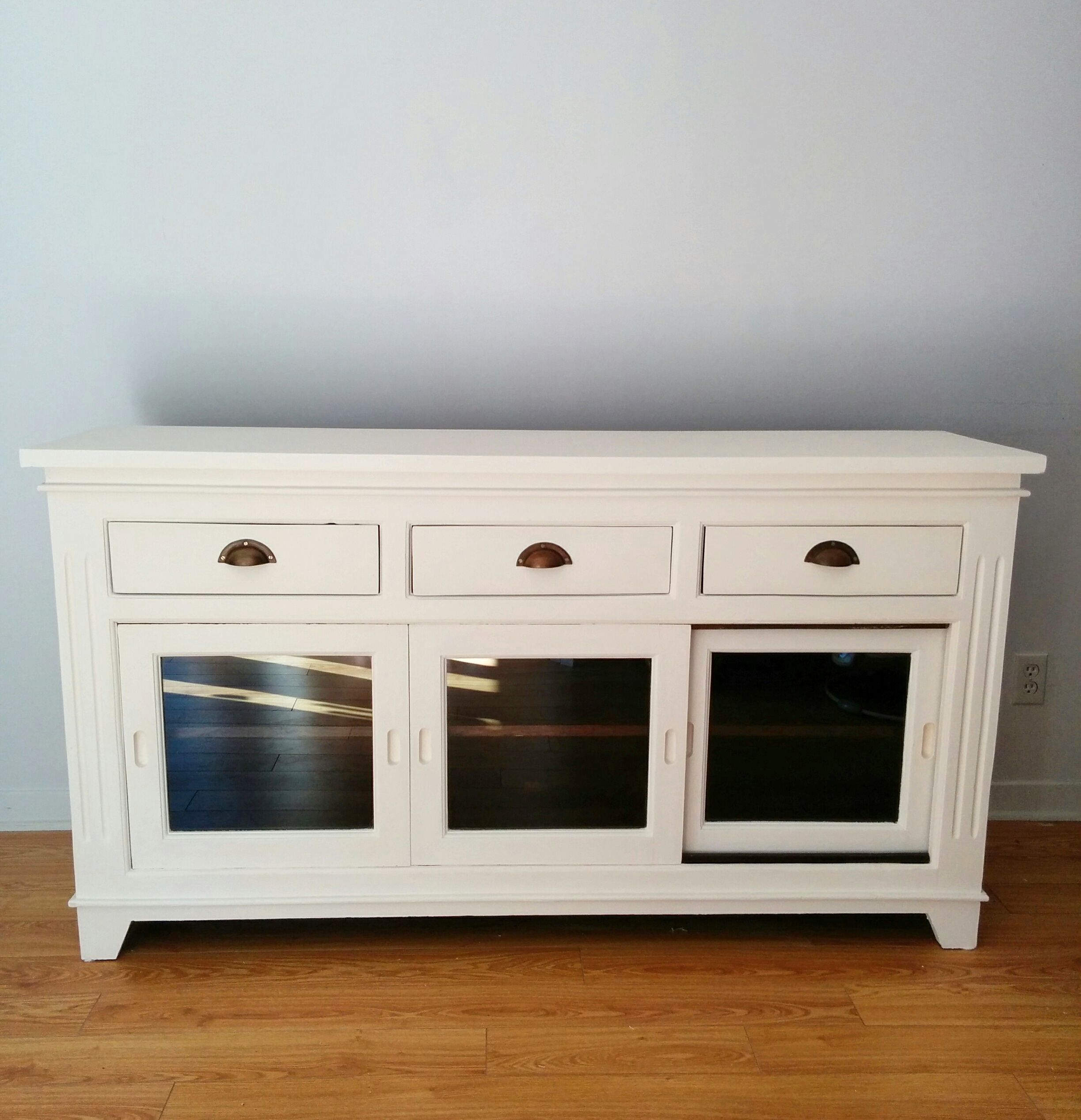 White buffet table furniture - Buffet White Chalk Paint Wood Glass Furniture Modern Mixxy