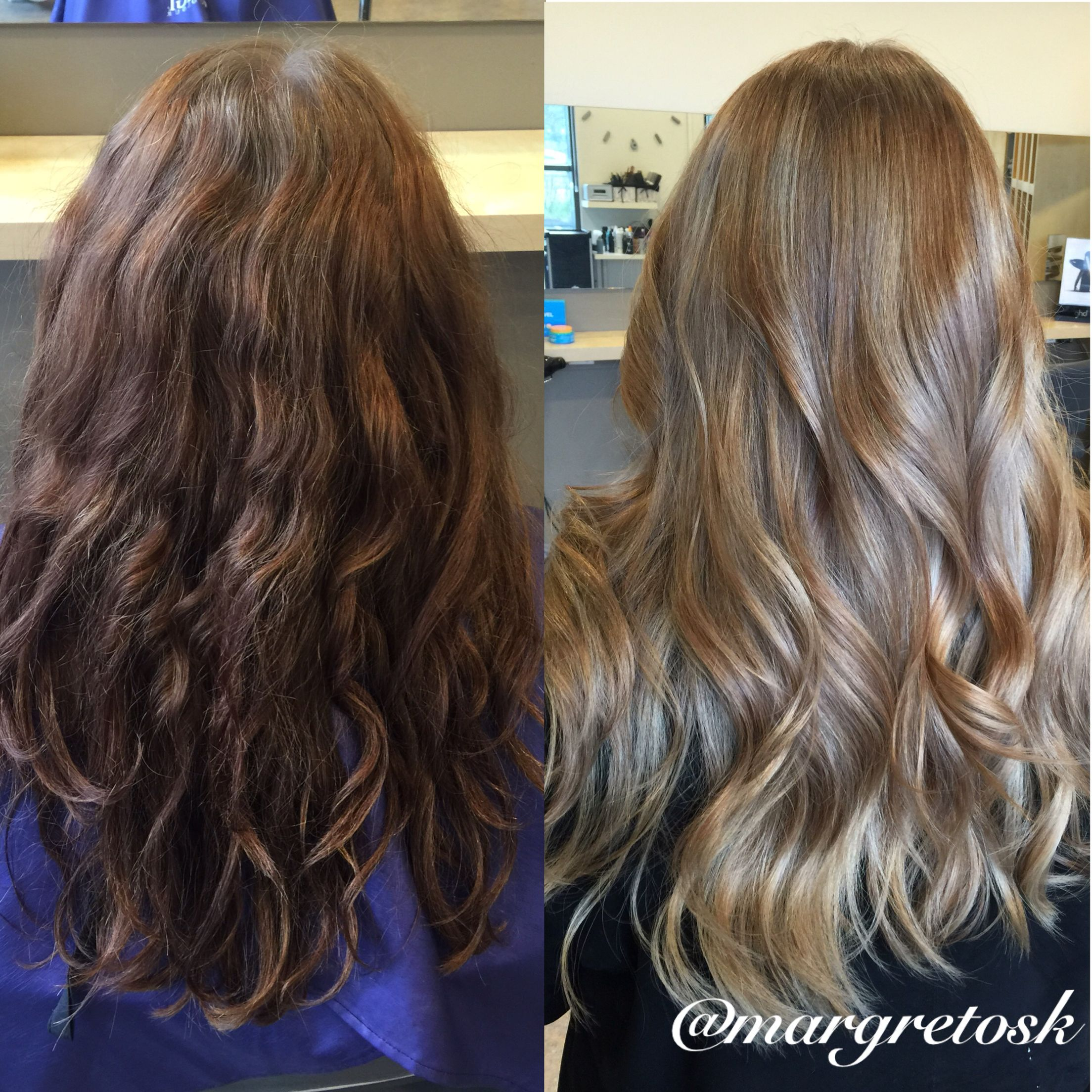 Before And After Coloring From Dark Brown To A Softer More Natural Lighter Color Blonde Hair Dark To Light Hair Light Hair Dark Blonde Hair