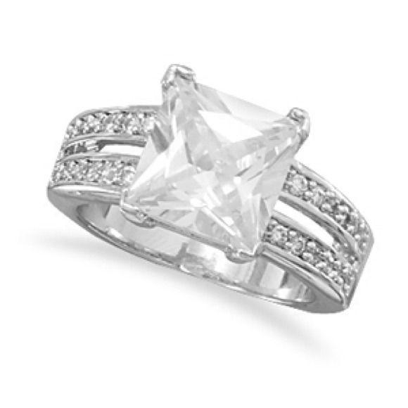 "Selling this ""Rhodium plated brass split shank CZ ring"" in my Poshmark closet! My username is: beverlyhuddart. #shopmycloset #poshmark #fashion #shopping #style #forsale #Jewelry"