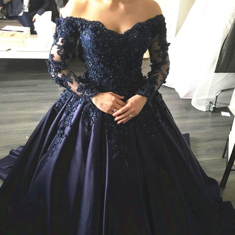 Navy Blue Lace Appliques Long Sleeves Ball Gowns Wedding Dress with Off  Shoulder d1ef03957