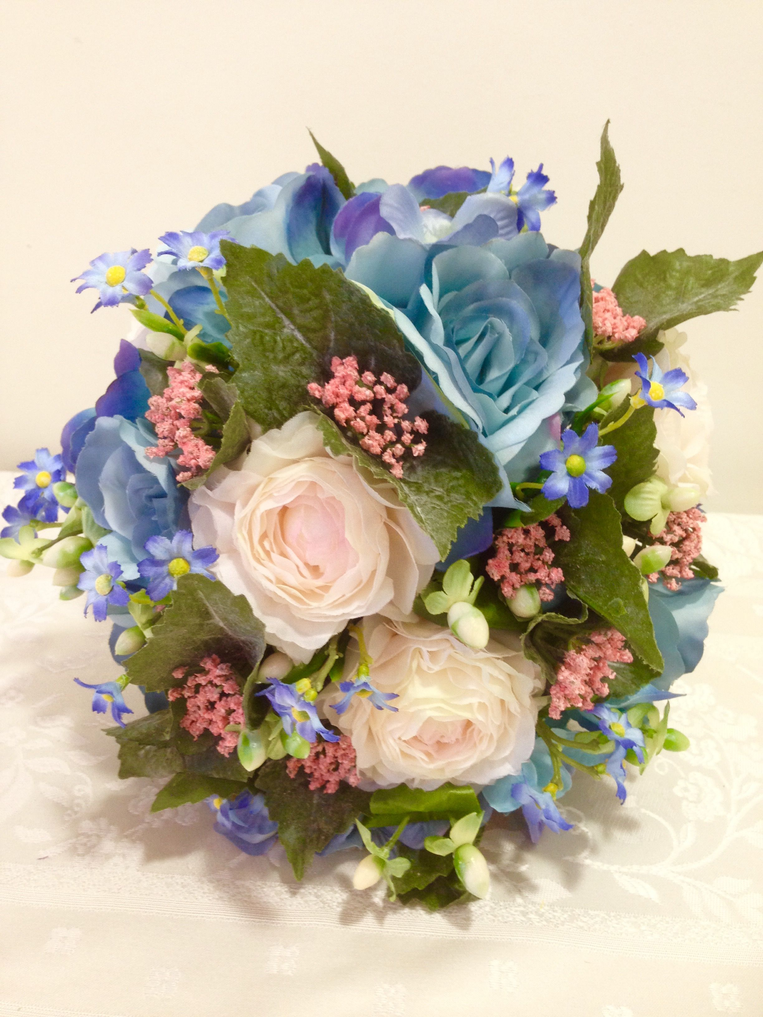 Peach and blue bouquet in everlasting flowers roses ranunculus and peach and blue bouquet in everlasting flowers roses ranunculus and hydrangea izmirmasajfo