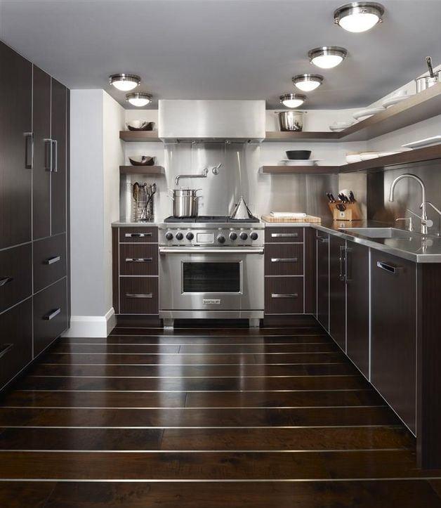 Dark Wood Cabinets With Stainless Steel Handles Stainless Steel Appliances Stainless Steel Counters Open Stainless Modern Kitchen Dark Wood Cabinets Kitchen